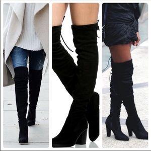 Vegan suede high heel boots